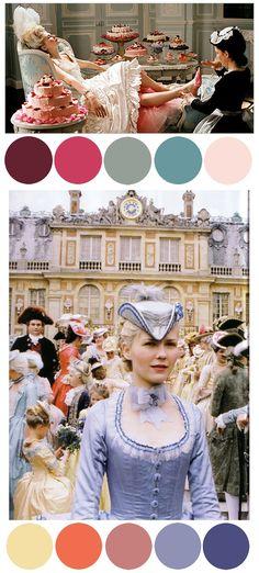 Top Row of Colors Only Sofia Coppola, Period Costumes, Movie Costumes, Marie Antoinette Movie, Image Foto, Moda Floral, Rococo Fashion, 18th Century Fashion, Costume Design