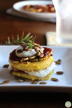 An eye-catching vegan main course that's fancy enough for company! Via @CadrysKitchen:  Polenta stacks with barbecue squash & cashew cream | Polenta recipe | cadryskitchen.com #vegan