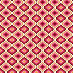 """Lantern"" in Strawberry -- premium woven quilting-weight cotton fabric from the Moon Shine collection by Tula Pink"