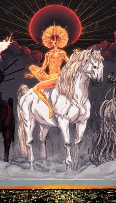 the white horse - The Four Horsemen of the Apocalypse (detail) (by ~korintic on deviantART)