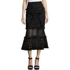 Andrew Gn Eyelet Mixed-Lace Mermaid Midi Skirt ($1,990) ❤ liked on Polyvore featuring skirts, black, women's apparel skirts, high-waisted flared skirts, lace midi skirt, high-waisted midi skirts, high-waist skirt and fitted midi skirt