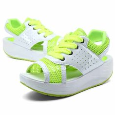 2d44ce3950 Green leather hollow out lace up rocker bottom shoe sandal