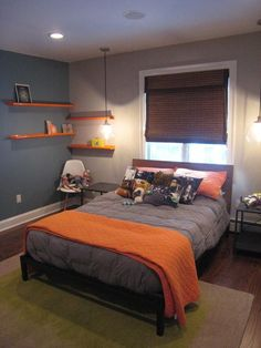 Wall colors: Tate's room: lowes...stormy cove (blue) Lowes...weathered concrete (tan) Satin finish...eggshell