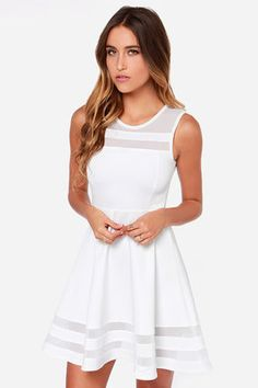 "AS SEEN ON THE TODAY SHOW!! You can make it to every finish line with the Final Stretch Ivory Dress to push you through! Thick off-white fabric stretches easily from waist to swirling skirt, with stripes of sheer mesh at neckline and hem for that last burst of inspiration! Unlined. Model is 5'8"" and is wearing a size X-Small. 95% Polyester, 5% Spandex. Hand Wash Cold. Imported."