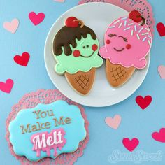 Valentine Ice Cream Cone Cookies by Semi Sweet Designs