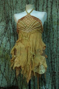 rusty goddess blossom top - victorian fairy pirate style rustic romantic top shirt in crochet lace in a dusty rust orange mocha colour