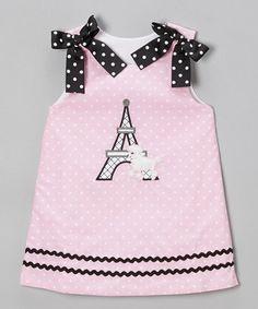 Another great find on #zulily! Pink Polka Dot Paris Bow A-Line Dress - Infant, Toddler & Girls #zulilyfinds