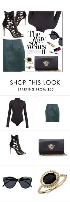 """""""The Way She Wears It"""" by firstboutique ❤ liked on Polyvore featuring Versace, Le Specs, Blue Nile and black"""