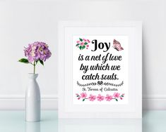 Mother Teresa Quote Print Joy is a net of love Catholic art   Etsy Catholic Quotes, Catholic Art, Quote Prints, Art Prints, Mother Teresa Quotes, Saint Quotes, Wonder Quotes, Color Calibration, Printing Process