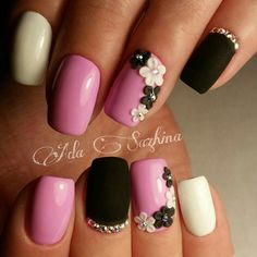 Beautiful nails art design ideas for You! Classy Nails, Fancy Nails, Cute Nails, 3d Acrylic Nails, 3d Nails, Black Nails With Glitter, Romantic Nails, Natural Nail Designs, Nail Art Videos