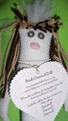 Bride Dammit Doll is starry-eyed wearing pearls by tobeesgifts, $18.95