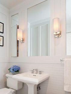 All white powder room Transitional Bathrooms from TerraCotta Properties on HGTV Small Bathroom Ideas On A Budget, Small Bathroom Storage, Diy Bathroom Decor, Budget Bathroom, Modern Bathroom, Simple Bathroom, Small Bathrooms, Beautiful Bathrooms, Bathroom Beadboard