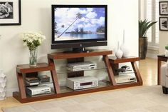 TV Stand Display and store your home entertainment components with this multi-level tv stand with side shelving available in espresso and dark oak. * Support up to TV DETAILS: x x MDF w. Decoration Ikea, Tv Decor, Home Decor, Tv Stand Shelves, Diy Tv Stand, Tempered Glass Shelves, Elderly Home, Diy Entertainment Center, Entertainment System