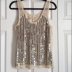 Silk sequin tank Beautiful silk front sequined tank. May be sequin missing in a spot or two but  comes with extra so would be easy fix Babakul Tops Blouses