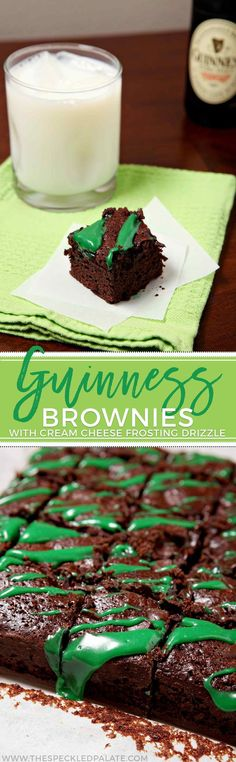 These decadently rich Guinness Brownies with Cream Cheese Frosting Drizzle are the perfect dessert to bake for your St. Patrick's Day celebration. Dense, dark chocolate brownies, made richer by using Guinness beer, are topped with a festive green cream ch (Cream Cheese Mints)