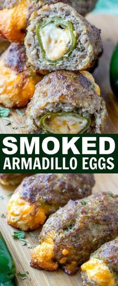 Healthy Snacks Smokey, spicy and cheesy these Smoked Armadillo Eggs are a fun and easy appetizer that are cooked low and slow in your smoker or you can bake them up in the oven for an even quicker appetizer! Meaty Appetizers, Appetizer Recipes, Appetizers On The Grill, Traeger Recipes, Grilling Recipes, Smoked Meat Recipes, Easy Grill Recipes, Meat Recipes For Dinner, Sausage Recipes