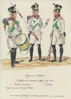 1810, Regno d'Italia, Fanteria di Linea, 3° Reggimento. Fuciliere, Tamburo. Fuciliere, Fuciliere.