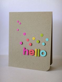 Foam letters & card stock = homemade cards Great for kids Handmade Greetings, Greeting Cards Handmade, Simple Handmade Cards, Cool Cards, Diy Cards, Tarjetas Diy, Karten Diy, Card Making Inspiration, Paper Cards