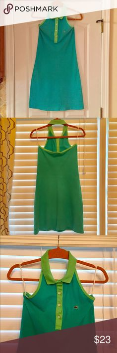 Lacoste halter polo dress, size 36, XS or S Previously worn but always hung to dry. Teal with lime green trim. Size 36, xs-s Lacoste Dresses