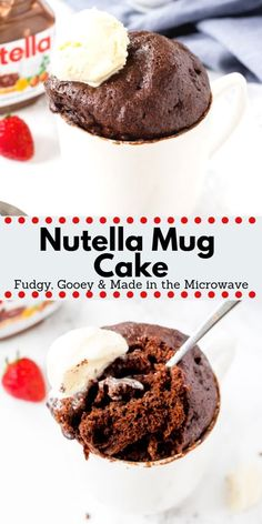 This fudgy, gooey Nutella Mug Cake is somewhere in between a warm brownie and slice of your favorite chocolate cake. Made in the microwave and ready in under 5 minutes Cake Nutella Mug Cake - Fudgy, Gooey & Made in the Microwave Mug Recipes, Baking Recipes, Cake Recipes, Dessert Recipes, Mug Brownie Recipes, Steak Recipes, Nutella Mug Cake, Nutella Brownies, Brownie Cake