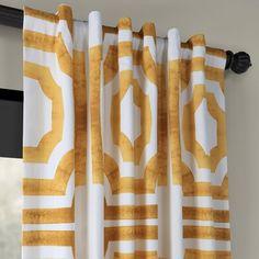 Birch Lane™ Badillo Cotton Geometric Room Darkening Rod Pocket Single Curtain Panel