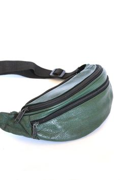 Vintage 80s Hunter Green Fanny Pack - Leather Fanny Pack