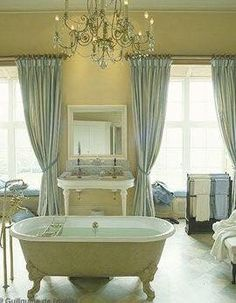 Light yellow and very pale blue beautiful bathroom