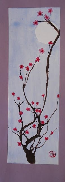 Cherry Blossom Paintings.  Moon, blue wash, use straws and blow paint to make branches, when dry add cherry blossoms