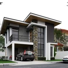 cool Modern-day design could possibly be known for its clean lines and crisp surfaces, but it doesn't signify that it can't also have a good deal of depth . Zen House Design, Two Story House Design, 2 Storey House Design, House Front Design, Minimalist House Design, Modern Bungalow House, Modern Zen House, Double Storey House, Home Building Design