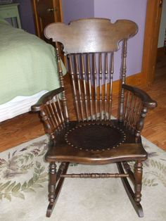 Marvelous Vintage Rocking Chair With Tooled Leather #chairs, #rockingchairs, # Furniture, #home,  Https://facebook.com/apps/application.php?idu003d106186096099420 ...