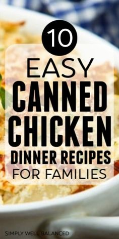 One of the best ways to save money is to use the items you have in your pantry. Fast and budget friendly dinner recipes using canned chicken. Perfect for quick weeknight dinner ideas. Fast Dinners, Cheap Dinners, Quick Meals, Freezer Meals, Can Chicken Recipes, Chicken Meals, Baked Chicken, Chicken Pizza, Salmon Recipes