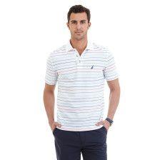 Striped Performance Deck Polo Shirt - Bright White