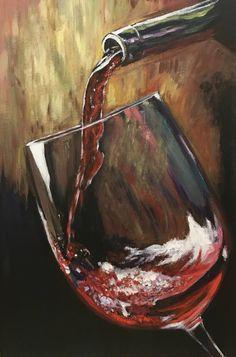Glass of Wine Painting Dark Paintings, Acrilic Paintings, Simple Canvas Paintings, Small Canvas Art, Easy Canvas Painting, Canvas Size, Canvas Prints, Wine Painting, Fruit Painting