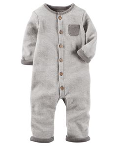 Baby Neutral French Terry Coverall | Carters.com
