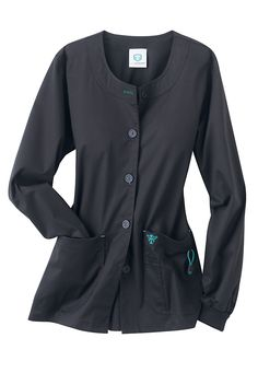 Med Couture by Peaches warm-up scrub jacket. - Scrubs and Beyond Scrubs Outfit, Scrubs Uniform, Dental Uniforms, Nursing Uniforms, Scrub Shoes, Doctor Scrubs, Scrub Jackets, Womens Scrubs, Nursing Clothes