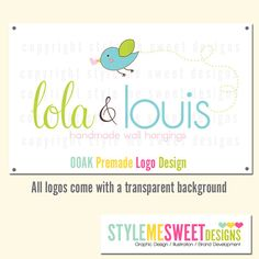OOAK Premade Logo Design Cute Birdie With A Heart Hand Drawn Small Business Never Resold