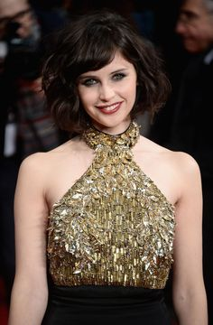 Felicity Jones wearing Alexander McQueen Resort 2014 – 'The Invisible Woman' London Premiere #2014