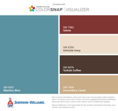 I found these colors with ColorSnap® Visualizer for iPhone by Sherwin-Williams: Manitou Blue (SW 6501), Salute (SW 7582), Intricate Ivory (SW 6350), Turkish Coffee (SW 6076), Dromedary Camel (SW 7694).