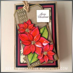Festive gift bag by John Bloodworth (Gentleman Crafter). Decorated with Designs by Georgina Poinsettia Tag stamp. For more details - https://gentlemancrafter.wordpress.com/2015/11/25/bags-of-character/