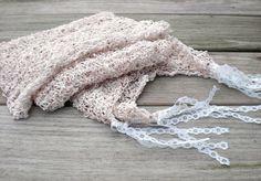 Knitted summer scarf White shabby chic by MaybeTheWhiteDog on Etsy, $32.00