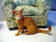 Dollhouse Miniature Abyssinian Cat Handsculpted 1:12 scale