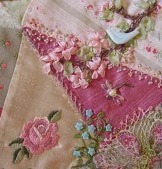 <3  Crazy Quilt ~~~~  beautiful embroidery, ribbon and beading embellishments     <3