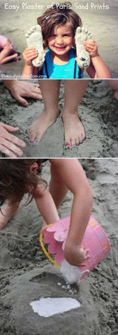 Cute DIY Ideas to do the the Beach for Kids | Plaster of Paris Sand Prints by DIY Ready at http://diyready.com/things-to-do-at-the-beach/