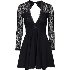 Nly One Glam Lace Skater Dress (74 AUD) ❤ liked on Polyvore featuring dresses, black, party dresses, womens-fashion, low cut dresses, v neck cocktail dress, lace dress, skater skirts and v neck skater dress