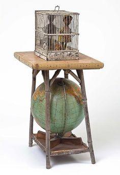 "Betye Saar, ""Globe Trotter"", 32"" x18"" x14"", mixed media assemblage, Michael Rosenfeld Art"
