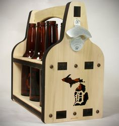 Beer Caddy, Detroit Tigers Inspired, Craft Beer, Wooden Beer Caddy, Beer Gifts,  Detroit Sports, Detroit Beer, Michigan, Beer Bottle Opener