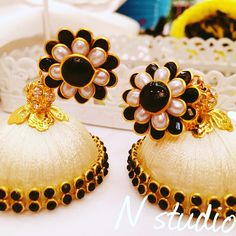 Silk thread earring jumka white with pachi stud