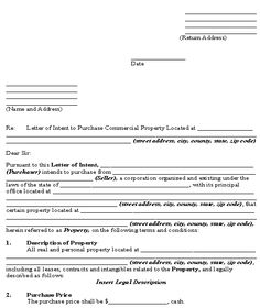 Sample Letter Of Intent To Purchase Business Letter Of Intent To Purchase  Commercial Real Estate Template .  Letter Of Intent To Buy A Business Template