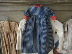 Early Primitive Blue Calico Rag Doll Dress Hand and Treadle Sewn Great Find AAFA | eBay