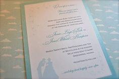 Princess Themed Royal Wedding Hand Illustrated Cinderella Tiffany Blue Wedding Invitations